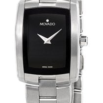 Movado 0605378 Eliro Stainless Steel Womens Watch Black Dial...