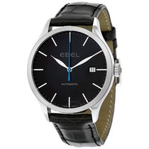 Ebel Classic 100 Automatic Black Dial Black Leather Men's...