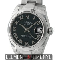 Rolex Datejust Stainless Steel 31mm Black Roman Dial Ref. 178240