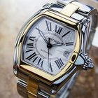 Cartier Roadster 18k & Ss Large 44mm Watch With Box And...