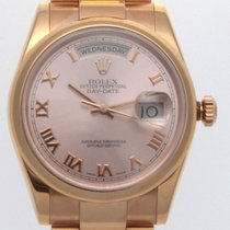 Rolex 18K ROSE GOLD PRESIDENT DAY-DATE PINK ROMAN DIAL