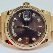Rolex 118235 F - DAY-DATE - Chocolate & Ruby - Everose Gold