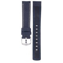 Hirsch Carbon Water Resistant Blue Leather Strap 18mm