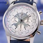 Breitling Transocean Chronograph Unitime Steel Mens Watch Blue...