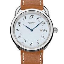 Hermès Arceau Silver Dial Men's Leather Watch