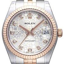 Rolex Datejust 31 Edelstahl Roségold Everose Jubilé Silber J DIA