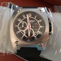 Wyler chronographe code R black dial index steel