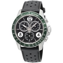 Tissot V8 Black Dial Chronograph Leather Strap Men's Watch...