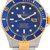 Rolex Blue Submariner Steel 18k Yellow Gold Watch 16613