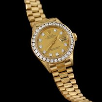 Rolex President Datejust Ladies Bark Finish Champagne Dial Watch,