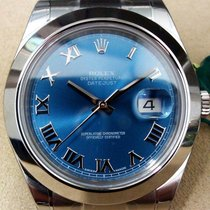 Rolex SS 41mm Datejust ll Blue Roman Box & Papers - 116300