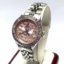 Rolex Oyster Perpetual Ss Ladies Watch Pink Flower Dial...