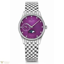 Zenith Elite Ultra Thin Moonphase Stainless Steel Purple Dial...