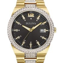Bulova Mens Crystal Accented Watch - Two-Tone - Black Dial -...