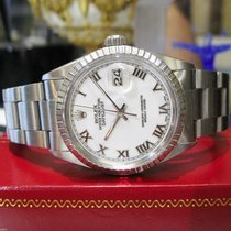 Rolex Oyster Perpetual Datejust Roman Numbers White Dial Steel...