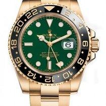 Rolex GMT Master II 18k Yellow Gold Green Dial 116718 Unworn