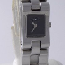 Gucci Ladies Rectangle Gucci Stainless Steel Black Dial Watch...