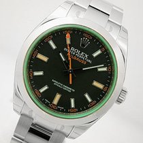 Rolex Milgauss 116400 Mens Stainless Steel Black Dial Green...