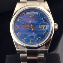 "Rolex DAY DATE  WHITE GOLD RARE  ""BLUE WAVES"" DIAL"