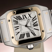 Cartier SANTOS 100 XL AUTOMATIC GOLD/STEEL - BOX & PAPERS