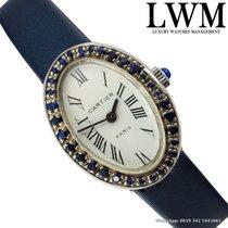 Cartier Paris Baignoire Oval Ladies silver 800 sapphire blue 1960