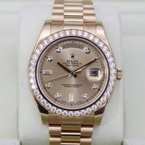 Rolex DAY-DATE II 41mm 18K Yellow Gold Diamond Bezel UNWORN
