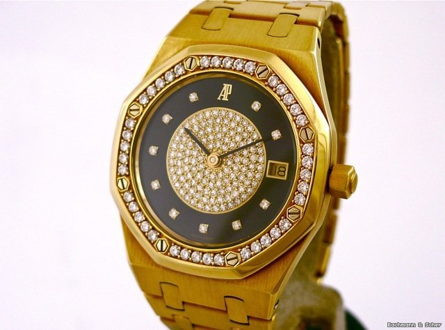 Audemars Piguet , Royal Oak, Man Size, 18k Yellow Gold, Diamond Set