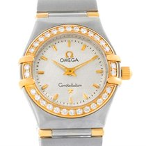 Omega Constellation Mini Steel And Gold Textured Dial Diamond...