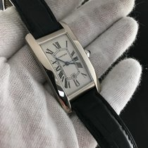 Cartier Tank Americaine 1726 White Gold Leather Strap - Watch...