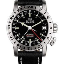 Glycine Airman 17 Automatic - Black Dial - Natural Black Calf...