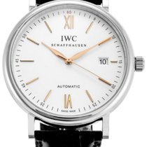 IWC Portofino Silver Dial Black Leather Automatic Men's...