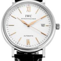 IWC Portofino Silver Dial Black Leather Automatic Men's...