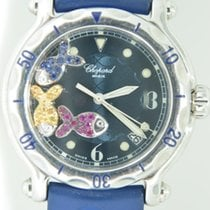 Chopard Happy Beach 3 Floating Fish - Steel on Blue Rubber Strap