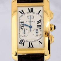 Cartier Tank Americaine 18K Gold Chronograph Date Chronoflex Top