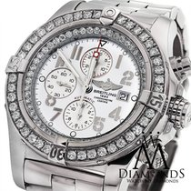 Breitling Super Avenger A13370 White Dial Diamond Authentic...