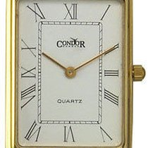 Condor 14kt Solid Gold Mens Swiss Strap Watch White Dial 14k...