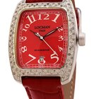 Locman Diamond Tonneau Red Dial Red Leather Ladies Watch
