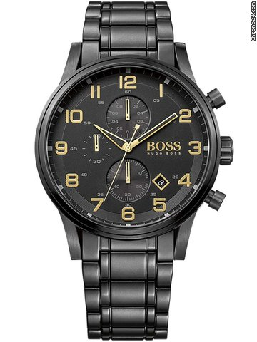 hugo boss 1513275 aeroliner chrono black gold edition 5atm 44mm for. Black Bedroom Furniture Sets. Home Design Ideas