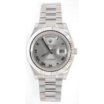 Rolex Day-Date II 218239 18K White Gold 41MM Silver Roman...