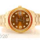 Rolex Pearlmaster 86348SAJOR Gelbgold 39mm Cognac Dial Full Set