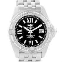Breitling Cockpit Black Dial Steel Diamond Ladies Watch A71356