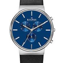 Skagen Mens Ancher Chronograph - Blue Dial - Stainless Steel -...