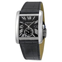 Cartier Tank MC Automatic Black Dial Black Leather Mens Watch...