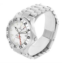 Omega Seamaster Gmt White Wave Pattern Dial Steel Watch...