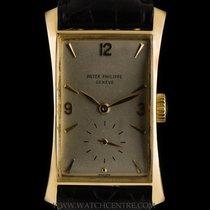 Patek Philippe 18k Y/G Hour Glass Vintage Fancy Long Lugs 1593