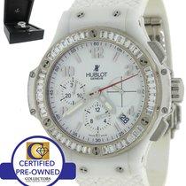Hublot Big Bang White Ceramic SS Chronograpgh Diamond Watch
