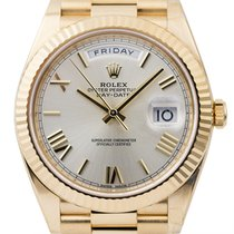 Rolex Day-Date 40 Watch 18ct Yellow Gold Silver/Roman Presiden...