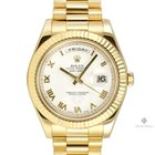 Rolex Day-Date II Yellow Gold White Roman Dial Fluted Bezel...