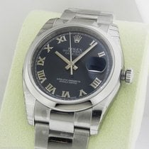 Rolex Datejust 36mm Blue Roman Dial Oyster 116200 Box and Papers