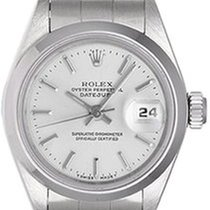 Rolex date white stick dial steel 79160